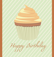 Happy Birthday cupcake orange vector image vector image