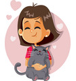 happy girl holding a cat cartoon vector image vector image