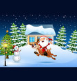 happy santa claus riding a reindeer jumping in the vector image vector image