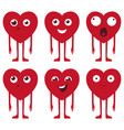 heart face set in red color with funny vector image vector image