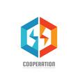 hexagon - logo template concept vector image
