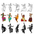 indian dancers silhouettes vector image vector image
