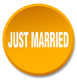 just married orange round flat isolated push vector image vector image