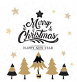 merry christmas happy new year logo and symbol vector image