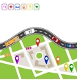 Road infographics Winding road with markers on vector image vector image