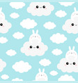seamless pattern rabbit bunny face holding cloud vector image