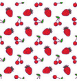 seamless patterns line icons fruit strawberry and vector image vector image