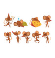 set of cartoon mouse character in different vector image vector image