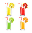 set of fruit juice cocktails in a glass vector image vector image