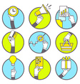 set of hands with various objects on blue vector image vector image