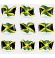 Set of Jamaica flags in the air vector image vector image