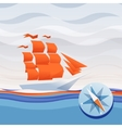 ship sea waves and compass vector image vector image
