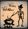 skeleton wearing a hat happy halloween vector image vector image