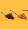 spoon with chocolate and caramel 3d realistic icon vector image vector image