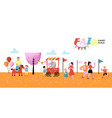 summer fun fair amusement park characters people vector image vector image