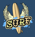 surfing surf themed longboard with wings hand vector image