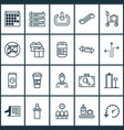 transportation icons set with luggage trolley vector image vector image