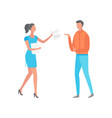 woman giving paper with notes to man isolated vector image vector image