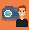 young man with camera avatar character vector image