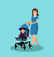 young mother walking with a newborn that is in the vector image
