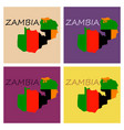 zambia map and flag in white background vector image vector image