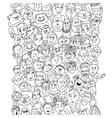 Funny pattern crowd of people faces vector image