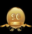 90th golden anniversary birthday seal icon vector image vector image
