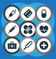 antibiotic icons set with medicament pulse vector image vector image