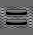 black glass buttons with metal frame on vector image vector image