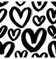 black heart seamless pattern ink brush hearts vector image