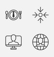 business icons set collection of global work vector image vector image