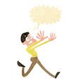 cartoon man running away with speech bubble vector image vector image