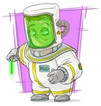 Cartoon scientist in protective suit with uranium vector image vector image