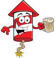 cartoon smiling firecracker holding a beer vector image vector image