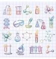 Chemistry Sketch Icons Set vector image