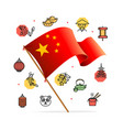 china design template line icon concept and flag vector image