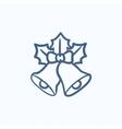 Christmas bells sketch icon vector image