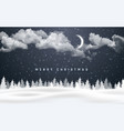 christmas night background with clouds moon vector image