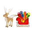colorful silhouette of reindeer and sleigh with vector image vector image