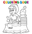 coloring book with housewife 1 vector image