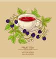 cup of blackberry tea vector image