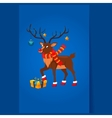 Deer with a Christmas Garland vector image