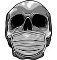 design skull face in medical face mask vector image vector image