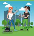 fitness womens cartoon vector image vector image