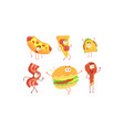 funny fast food cartoon characters collection hot vector image vector image