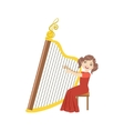 Girl In Red Dress Playing Harp vector image vector image
