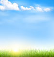 Grass lawn with clouds and sun on blue sky vector image vector image