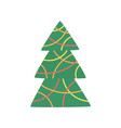 green xmas tree decorated with christmas garland vector image vector image
