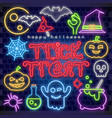 halloween neon sign collection vector image