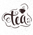 hand drawn lettering tea badge labels signs vector image vector image